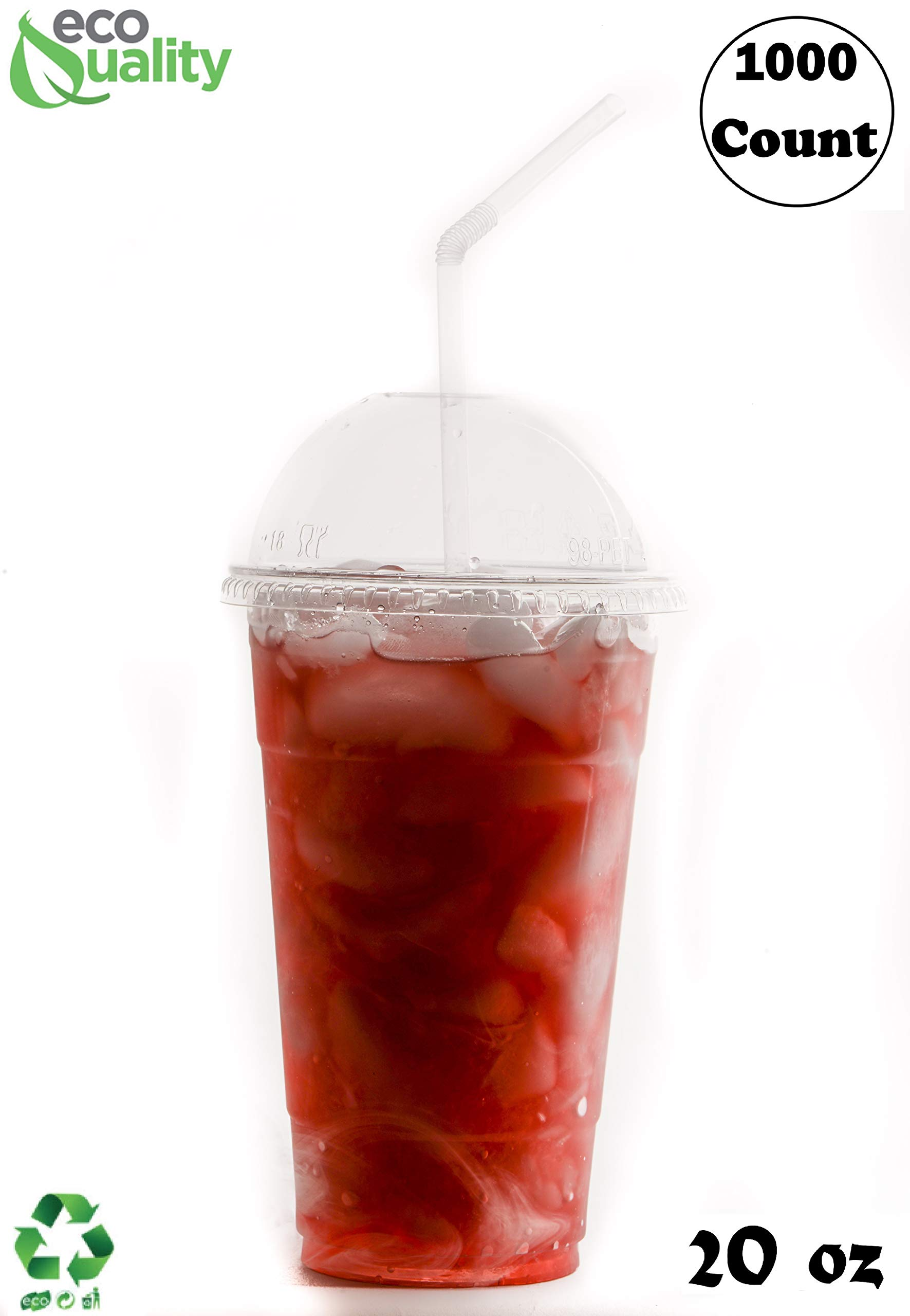 20 oz Cups, 1000 Pack | Iced Coffee Go Cups and Dome Lids | Cold Smoothie | Plastic Cups with Dome Lids | Clear Plastic Disposable Pet Cup | Ideal for Coffee, Parfait, Juice, Soda, Cocktail,Party Cups