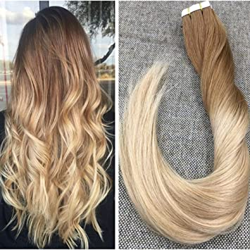 Ugeat 24 Inch Ombre Tape In Human Hair Extensions 8 16 Light Brown To