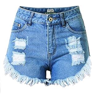 2a6ecd2ffc Pandapang Women Ripped Hot Pants High Waist Stretch Faded Denim Cut Off  Jean Short