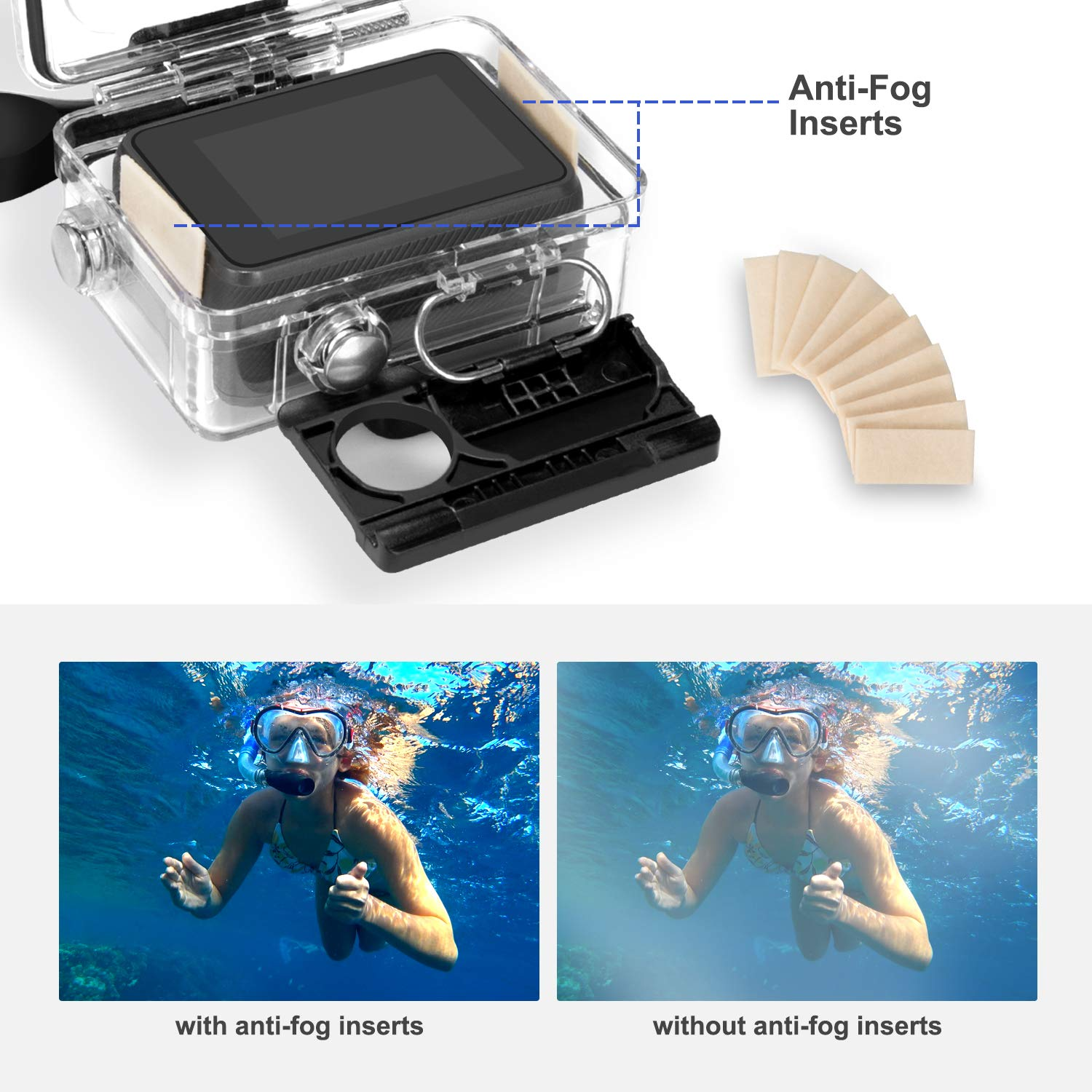 Waterproof /& Enhances Colors Rhodesy Waterproof Case Housing for GoPro Hero 8 Black Hero Waterproof Housing Protective Case 3 Pack Dive Filter Accessories For GoPro Action Camera