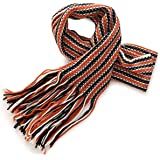 Fancy Stitch Women's Winter Jacquard Crochet Hook Stripe Knitted Wool Scarf