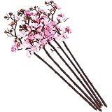 5 peças de flores artificiais de flor de ameixa de 60 cm, decoração de casa de casamento (rosa claro) para artigos de festa