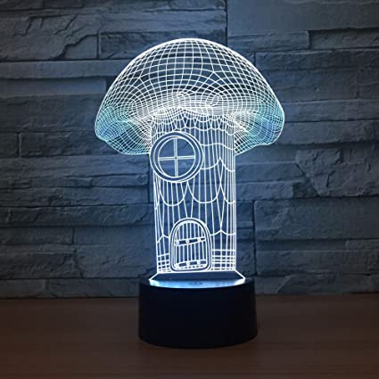 Amazon Com Aetd Mushroom House 3d Lamp 7 Color Led Night Lamps For