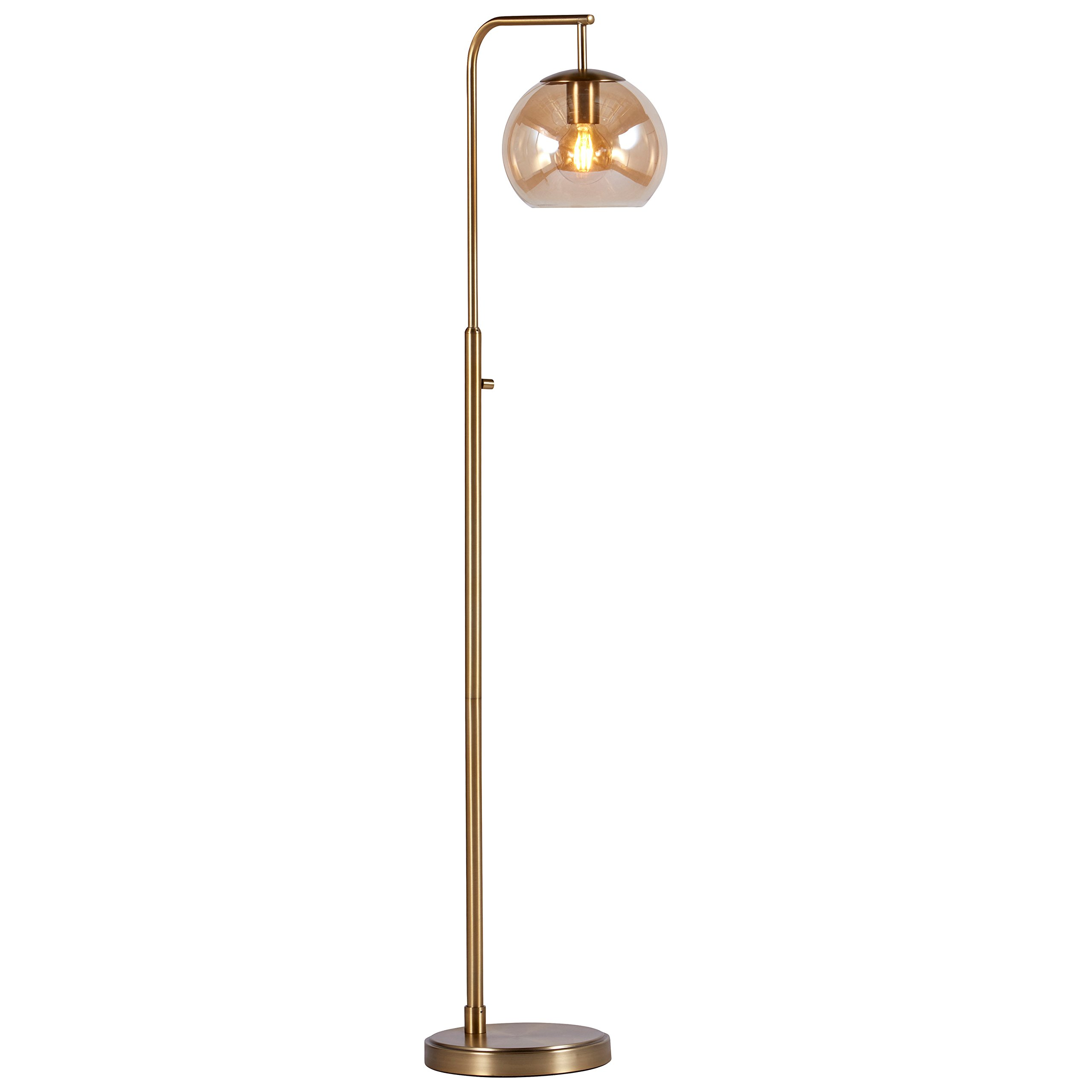 Rivet Hudson Mid-Century Brass Floor Lamp, 58.5''H, With Bulb, Tinted Glass Globe by Rivet