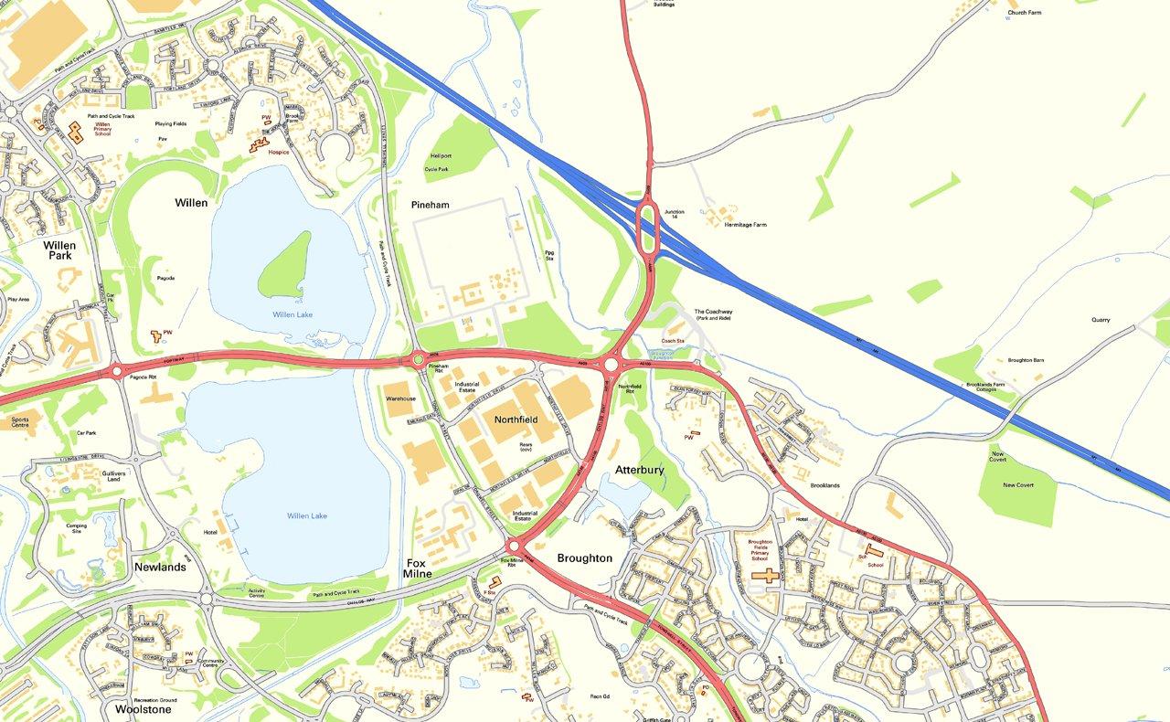 Milton Keynes Street Map Paper Size 200 x 160 cm Amazoncouk