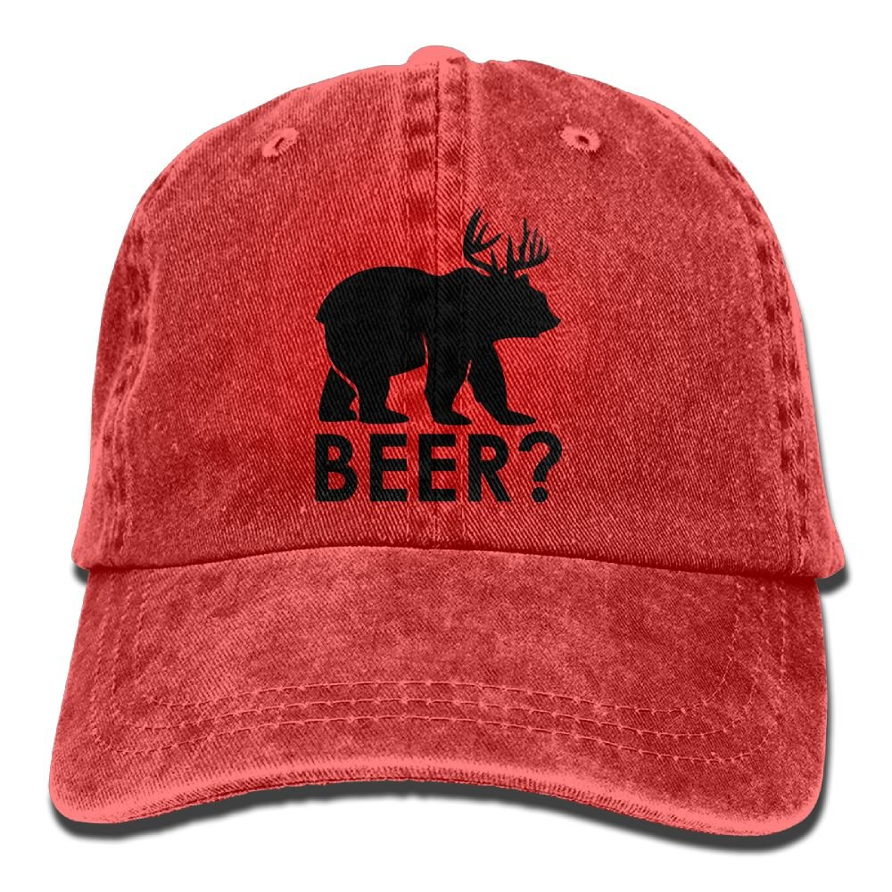 Badoufa Dear Bear Unisex Washed Baseball Cap Adjustable Cowboy Cotton Ball Hat Red