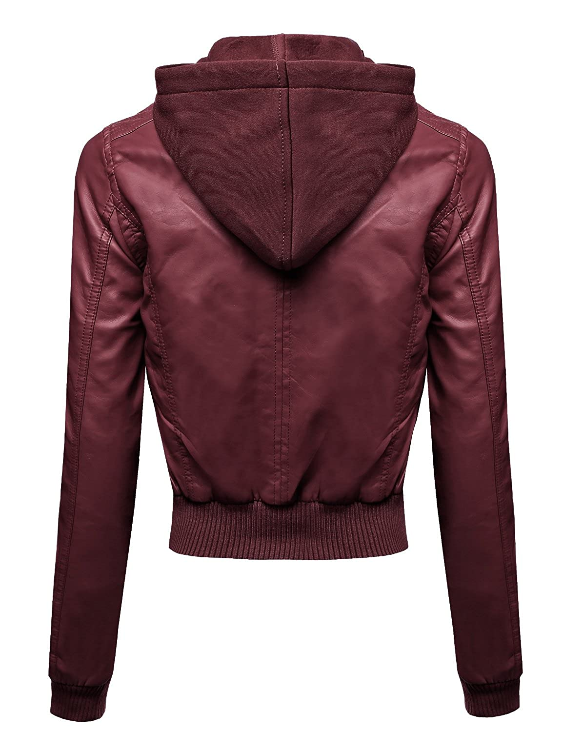 55370cab00a Awesome21 Faux Leather Detachable Hood Biker Bomber Jacket Burgundy Size S  at Amazon Women's Coats Shop