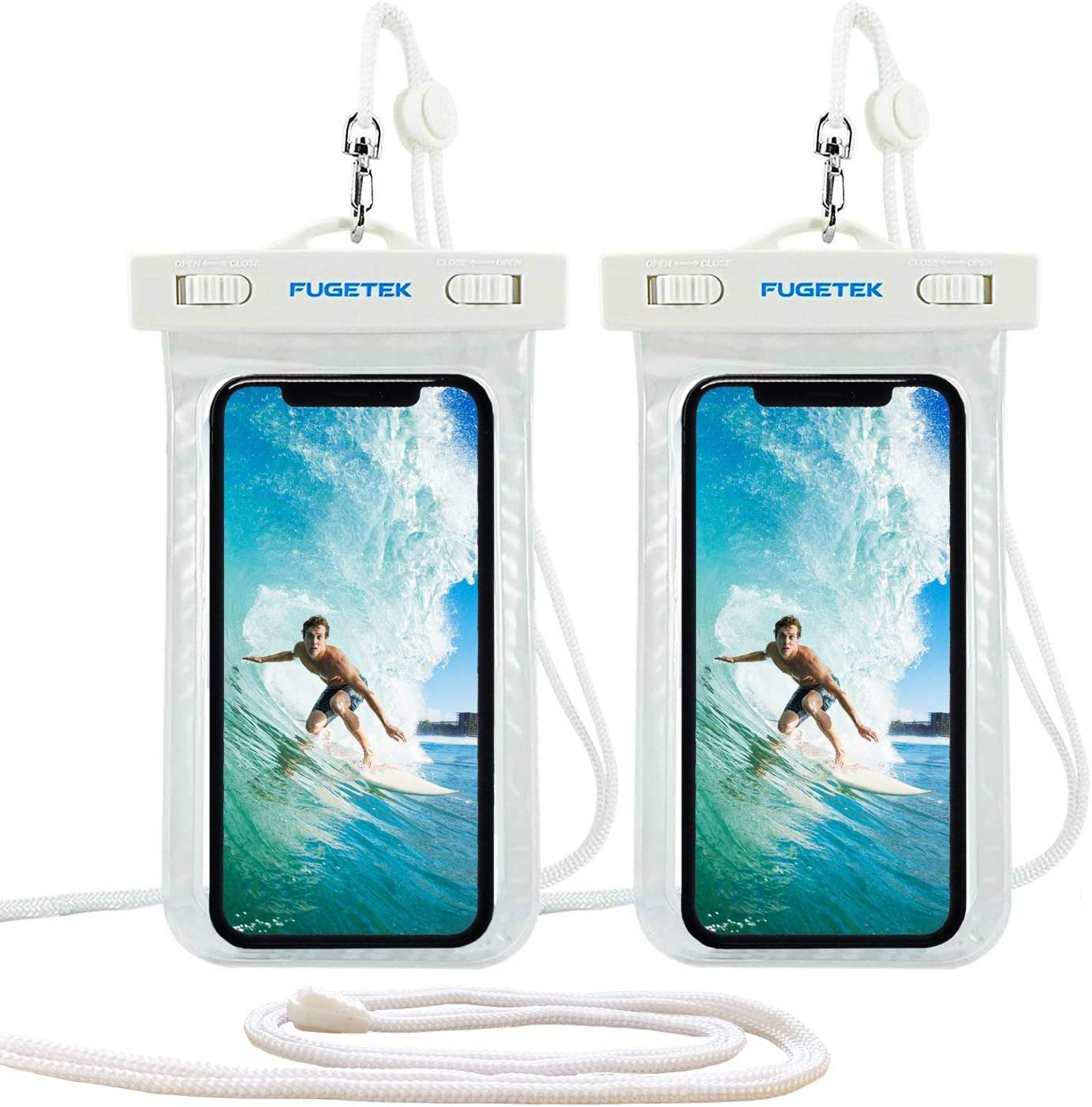 Fugetek Waterproof Case Dry Bag Cell Phone Pouch, IPX8, Universal, for iPhone 11, XR/XS Max, XS/X, 8/8P, Android Samsung, Pixel, HTC Smartphones, for Travel, Beach, Pool, Hiking, White, (2 Pack)