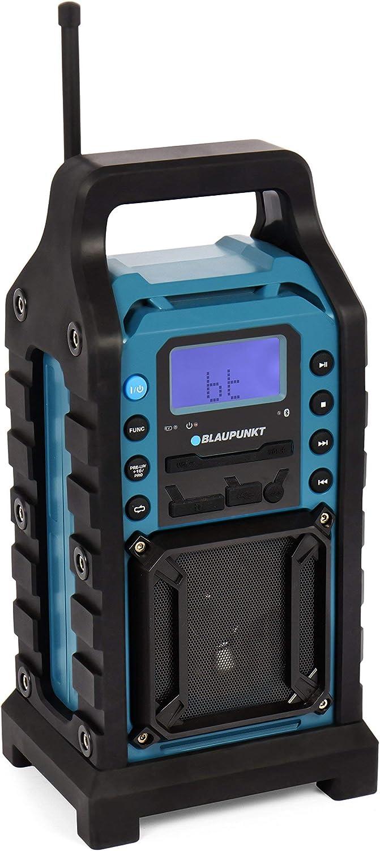 spritzwassergesch/ützt USB SD robustes Geh/äuse AUX-IN sto/ßfest 8 Watt Baustellen Radio mit UKW PLL Radio General/überholt 13 V mit Netzteil blau BLAUPUNKT BSR 10 Baustellen Radio mit Bluetooth und Akku
