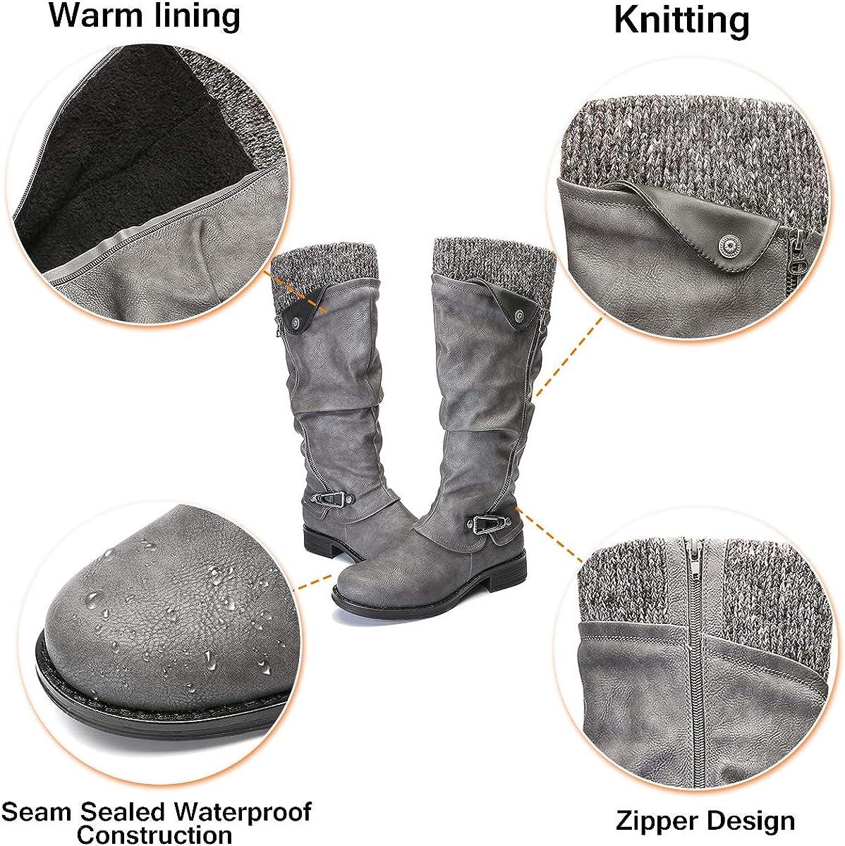 Botas Altas Invierno Mujer, Camfosy Botas de Nieve Caña Ancha Zapatos Mujer Cuña Planos Sintética Peluche Jinete Bajo Cómodos Peludas Calentitas 2020 Negro Gris Marrón Gris oLb6O
