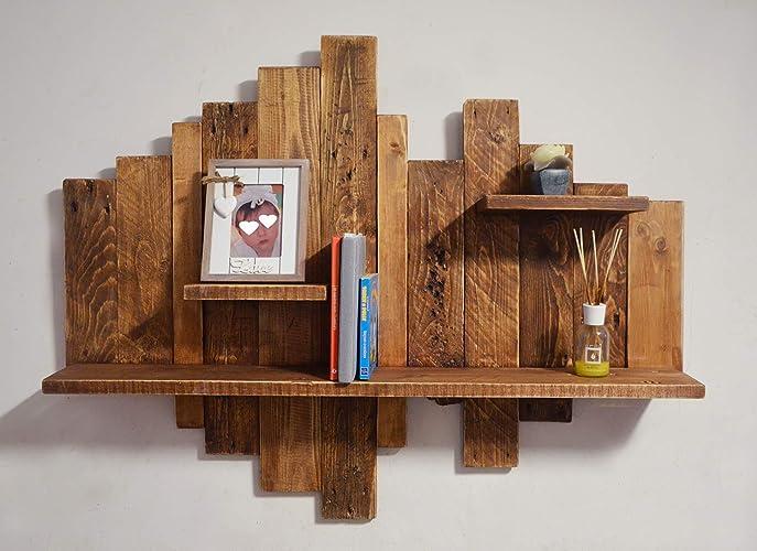 Legno Grezzo Per Mensole : Libreria in legno riciclato portafoto marrone sospeso con pallet