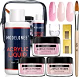 Modelones Acrylic Powder and Liquid Set Pink Acrylic Nail Starter Kit with Professional Acrylic Nail Brush & Liquid…