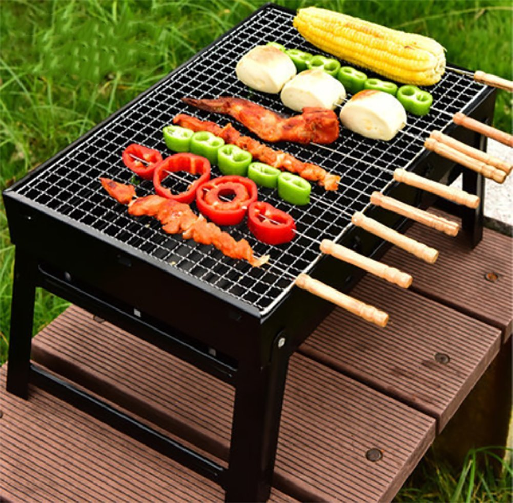 Barbecue Grill Portable Klappregal BBQ Party Outdoor Camping Notwendig (Schwarz)