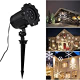 Christmas Snowflakes Projector Light Outdoor/Indoor Moving White Snowflake LED Landscape Projection Lamp for Christmas Party Holiday Halloween Garden Tree Wall Decorations