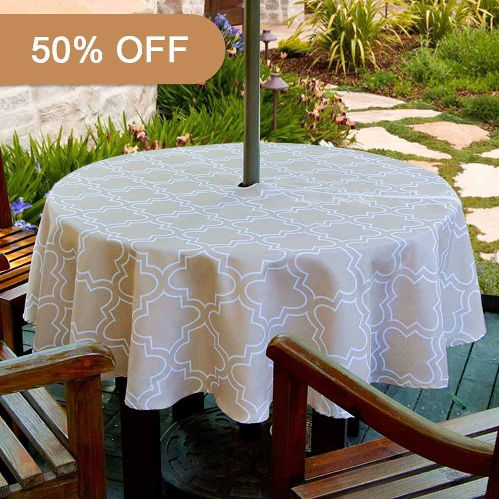 Lamberia Patio Outdoor Umbrella Tablecloth with Zipper and Umbrella Hole, Water and Stain Resistant (60'' Round, Khaki)