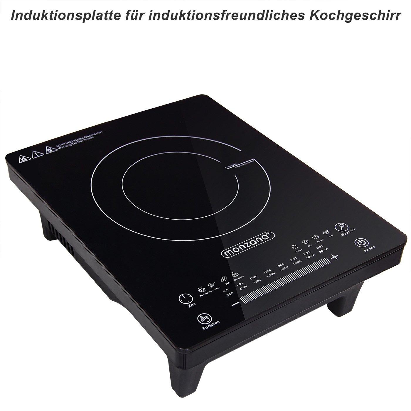 Monzana   Placa de inducción portátil   2000W   Temperatura ajustable de 80 ° C a 240 ° C   Función de temporizador   Pantalla LED   8 programas ...