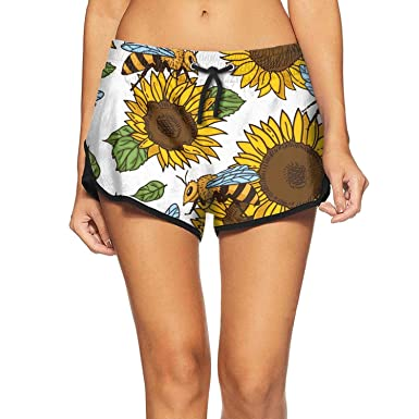 7d5d730e1b Womens Beach Shorts Bees Leaves and Sunflowers Vintage Quick Dry Elastic  Sporty Young Women Home Pants