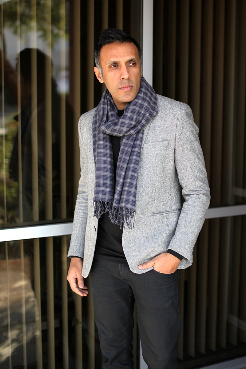 Anika Dali Men's Marco Check Plaid Scarf in Soft Wool with Tassels by Anika Dali (Image #4)