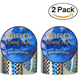 Super Sturdy Bird Repellent Scare Tape - Simple Reflective Control Device| Double Side Bird Deterrent-350Ft(700 Feet Total) Holographic Value Roll FOR Gardens, Greenhouse Docks and Boats (2-Pack)