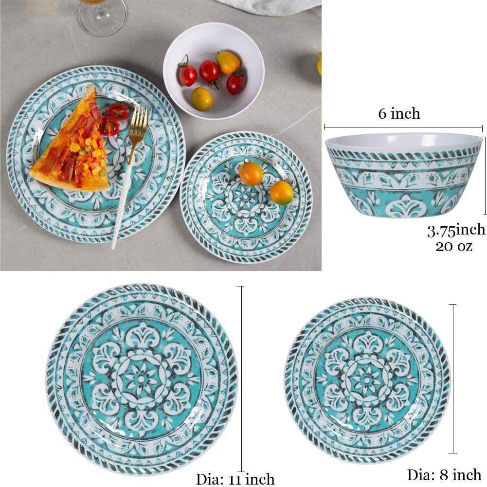 Amazon.com: Juego de vajilla de melamina de 12 piezas para ...