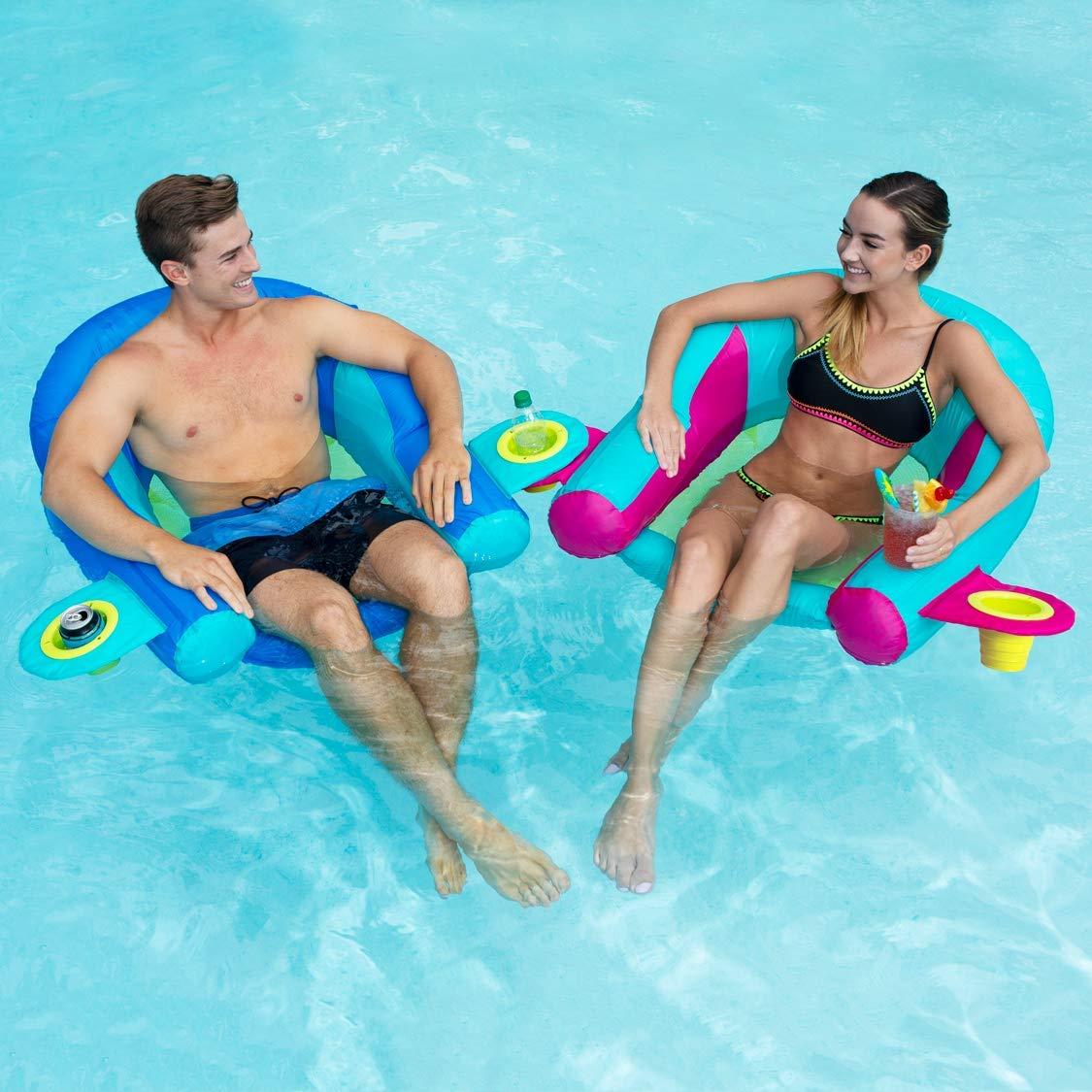 Interlocking Swim Loungers for Pool or Lake Blue SwimWays AquaLinx Floats