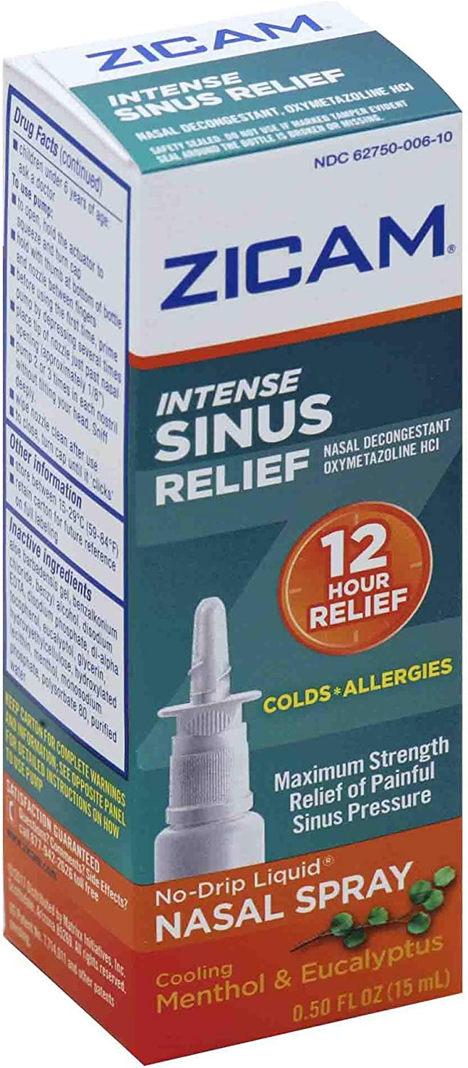 Zicam Intense Sinus Relief No-Drip Liquid Nasal Spray with Cooling Menthol & Eucalyptus, 0.5 Ounce (Pack of 1)
