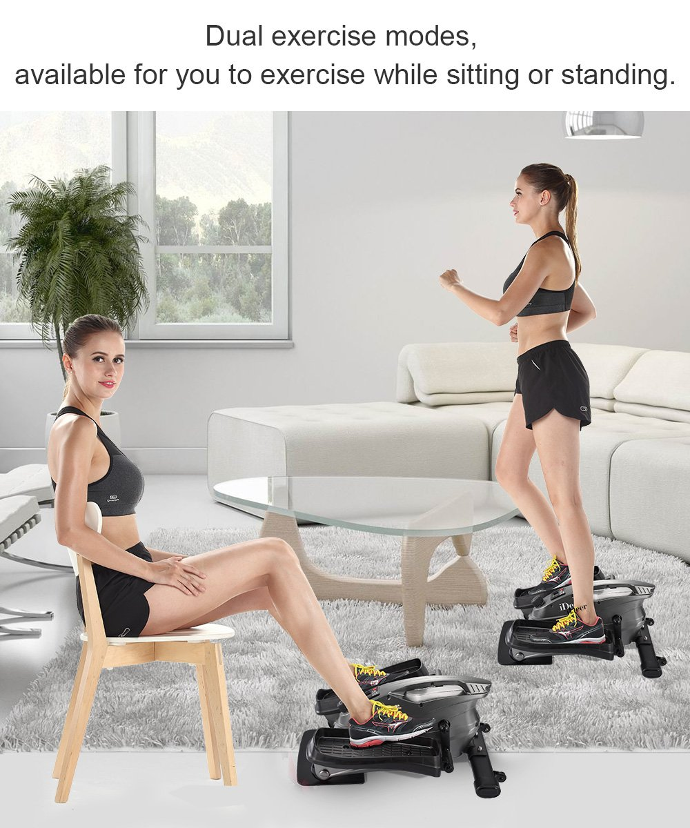 IDEER LIFE Under Desk&Stand Up Exercise Bike,Mini Elliptical Trainers Stepper Pedal w/Adjustable Resistance and LCD Display,Fitness Exercise Peddler for Home&Office Workout (Metallic Grey 09024) by IDEER LIFE (Image #6)