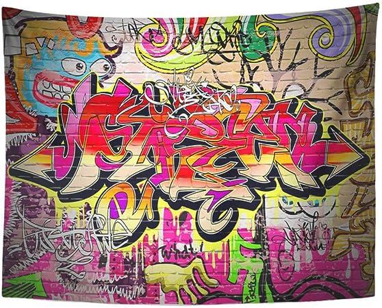 AOCCK Tapisseries Wall Hanging Colorful Grafitti Graffiti Wall Urban Grafiti Graffitti Brick Graphitti Funky 60 x 80 Home Decor Art Tapestries for Bedroom Living Room Dorm Apartment
