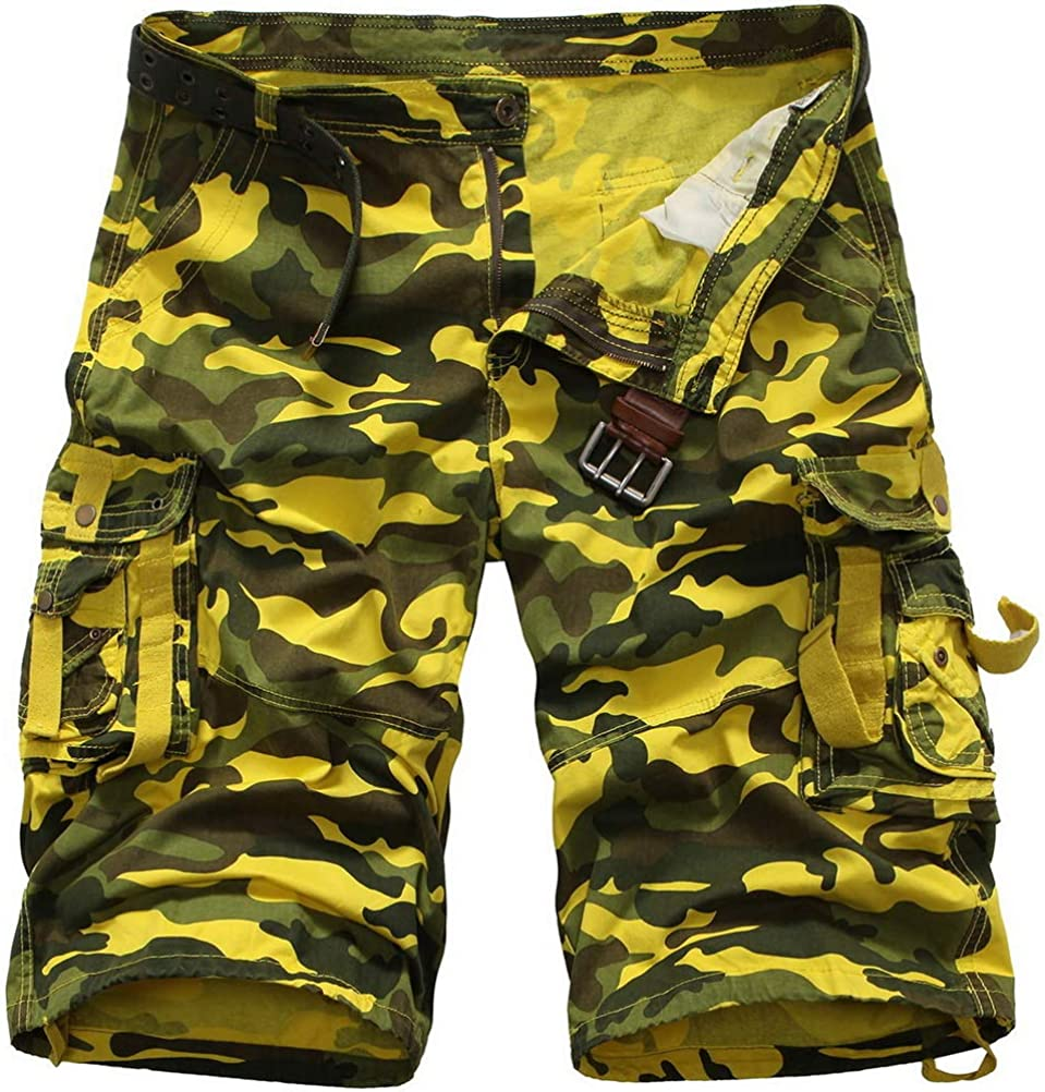 ROBO Classic Camo Cargo Shorts Mens Leisure Multi-Pockets Short Relaxed Fit