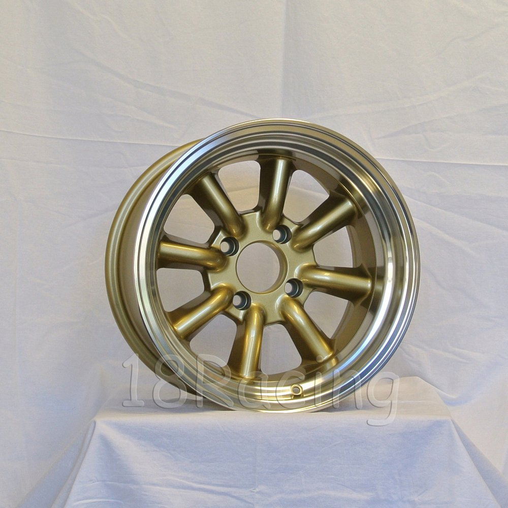 4 PCS ROTA RKR WHEELS 15X9 PCD:4X114.3 OFFSET:-15 HB:73 GOLD WITH POLISH LIP