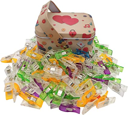 Multipurpose Sewing Clips Craft Clips Multicolored Little Clips with Tin Box Package Pack of 100 Quilting Clips