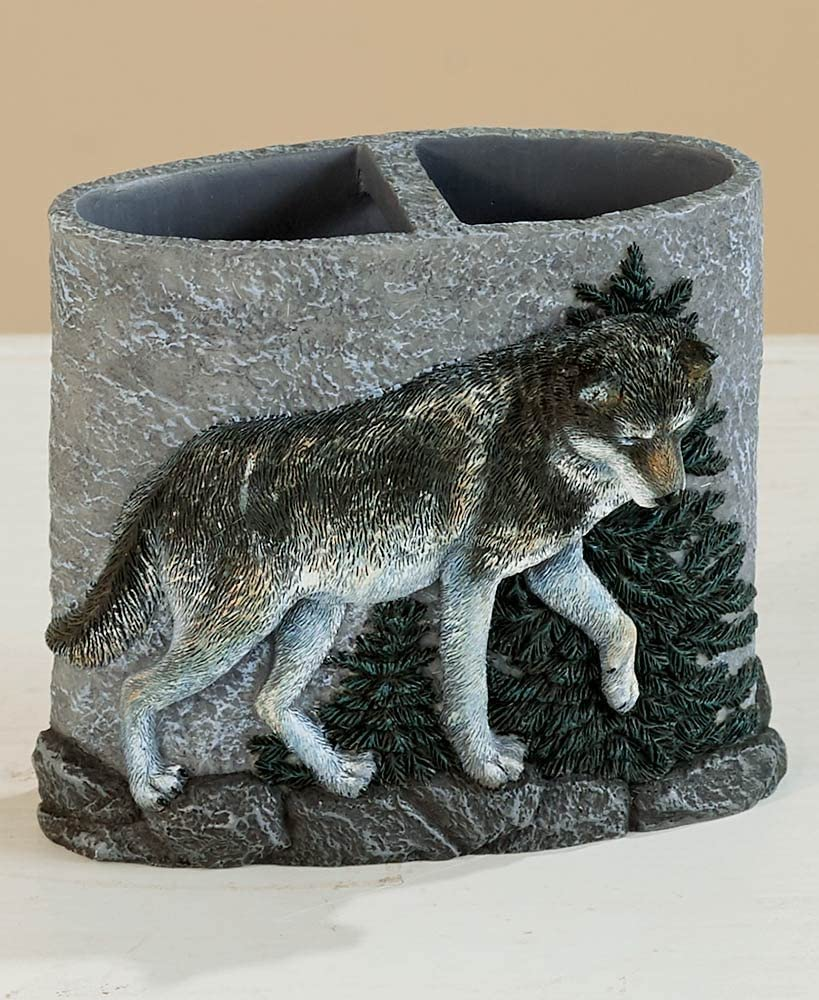 The Lakeside Collection Wolf Pack Toothbrush Holder -