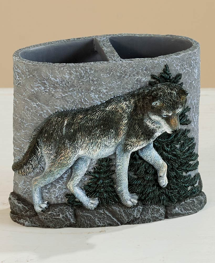 The Lakeside Collection Wolf Pack Toothbrush Holder