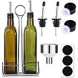 Aozita 17oz Olive Oil Dispenser Bottle Set with Stainless Steel Holder Rack - 500ml Glass Oil & Vinegar Cruet with No…