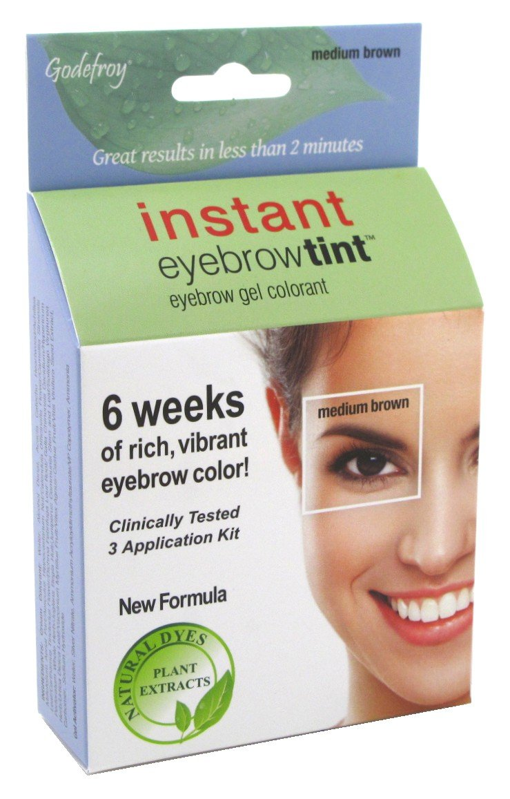 (3 Pack) GODEFROY Instant Eyebrow Tint - Medium Brown