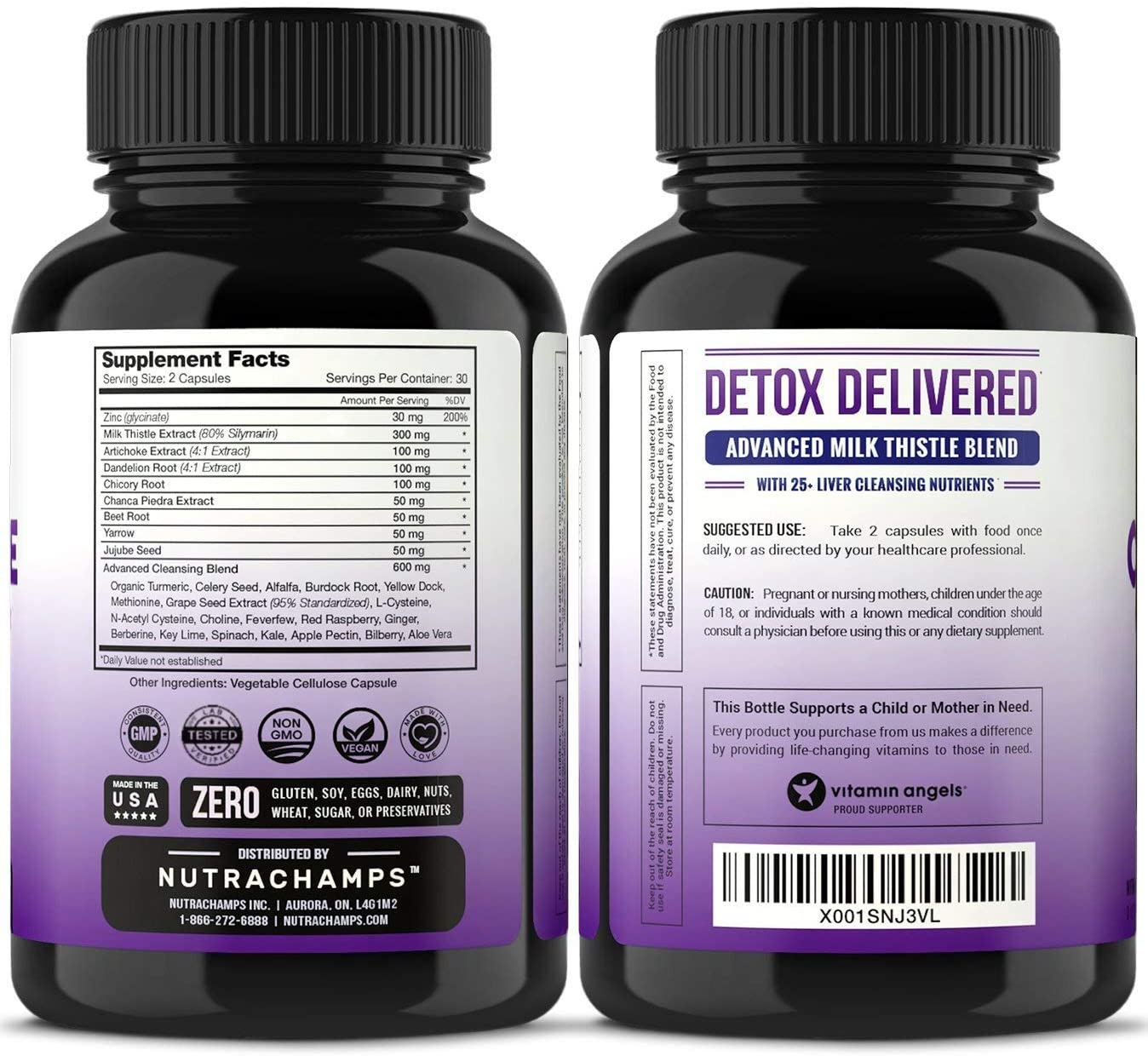 Liver Cleanse Detox Repair Formula – 25 Herbs Milk Thistle Extract with Silymarin, Artichoke, Dandelion, Chicory Root Powder More – Premium Liver Support Pills Supplement – 60 Capsules