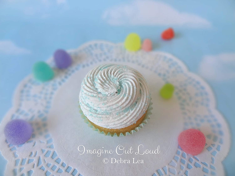 Fake Cupcake Pastel Aqua Vanilla Photo Prop Kitchen Decor Favor