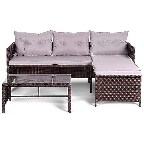 Amazon Com Patio Furniture Sofa Set Brown Outdoor Rattan Furniture