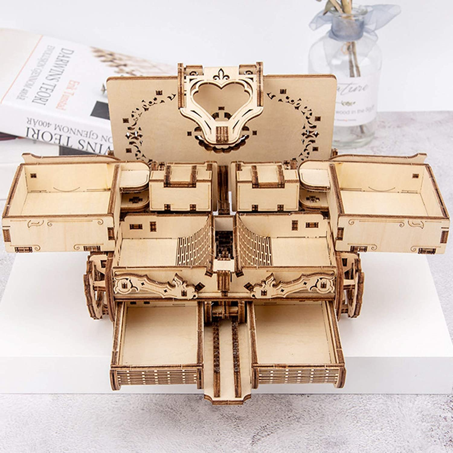 lahomia DIY Treasure Box Wooden Puzzle Self Assembling Mechanical 3D Model Kit,Exercise Willpower