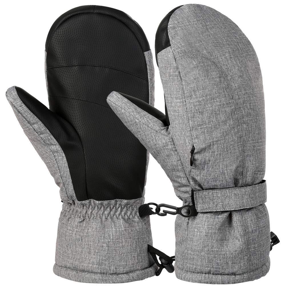 Vbiger Ski Handschuhe Warme Winter Handschuhe Lässige Outdoor Sports Handschuh Verdickte Kalt Wetter Handschuhe Winddichte Winter Snowboard Handschuhe für Männer und Frauen, Grau