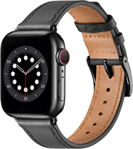 BesBand Compatible with Apple Watch Bands 44mm 42mm 40mm 38mm, Genuine Leather Business Replacement Bands Loop Men Women for iWatch SE & Series 6/5/4/3/2/1(Space Gray/Black,42mm/44mm)