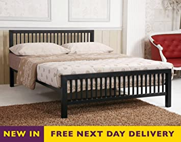 Time Living Meridian 5ft King Size Black Metal Bed Bed Frame Only