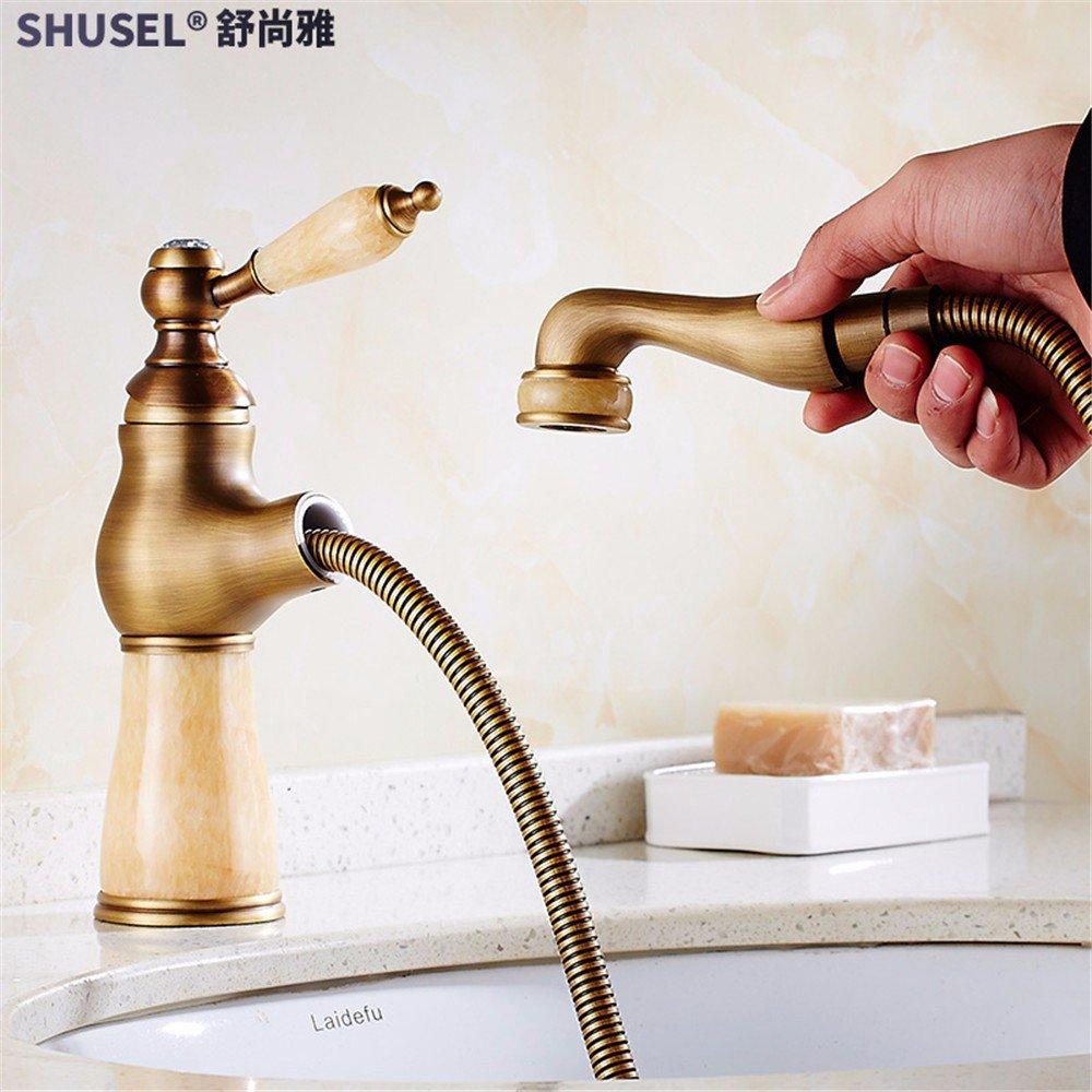 Hlluya Wasserhahn für Waschbecken Küche Antique-Brass Körper Wasserhahn ziehen Einzelne Einzelne Einzelne Bohrung Retro des Klappdachs heiß und kalt Waschen unter fließendem Wasser an der Wanne 8989bd