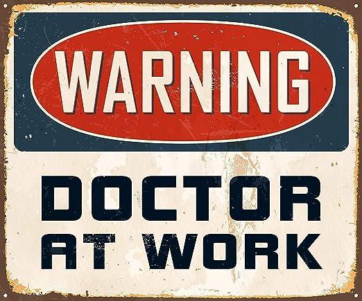 Warning Doctor At Work Póster De Pared Metal Retro Placa ...