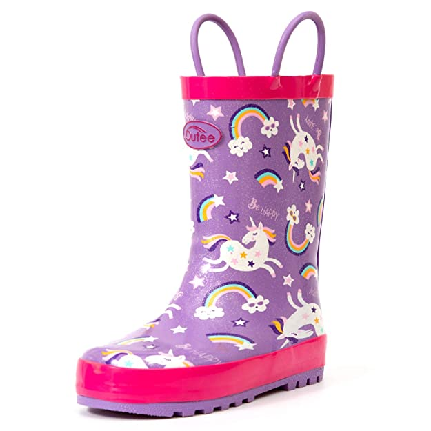 Outee Toddler Rain Boots Girls Kids Rubber Waterproof Shoes Printed Glitter Unicorn Purple Cute Print with Easy On Handles (Size 8,Purple)