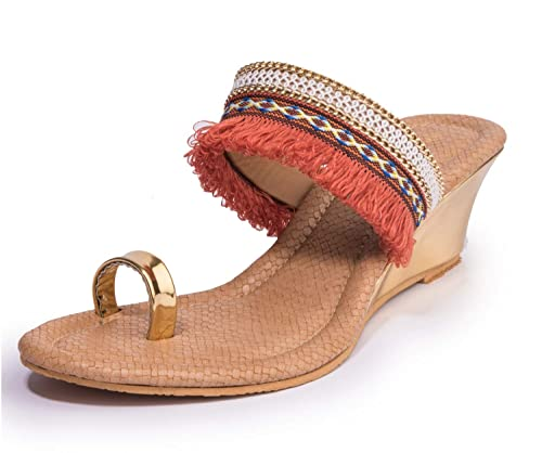6648e25054617 Khadims Women Orange Ethnic Heel Sandal  Buy Online at Low Prices in India  - Amazon.in