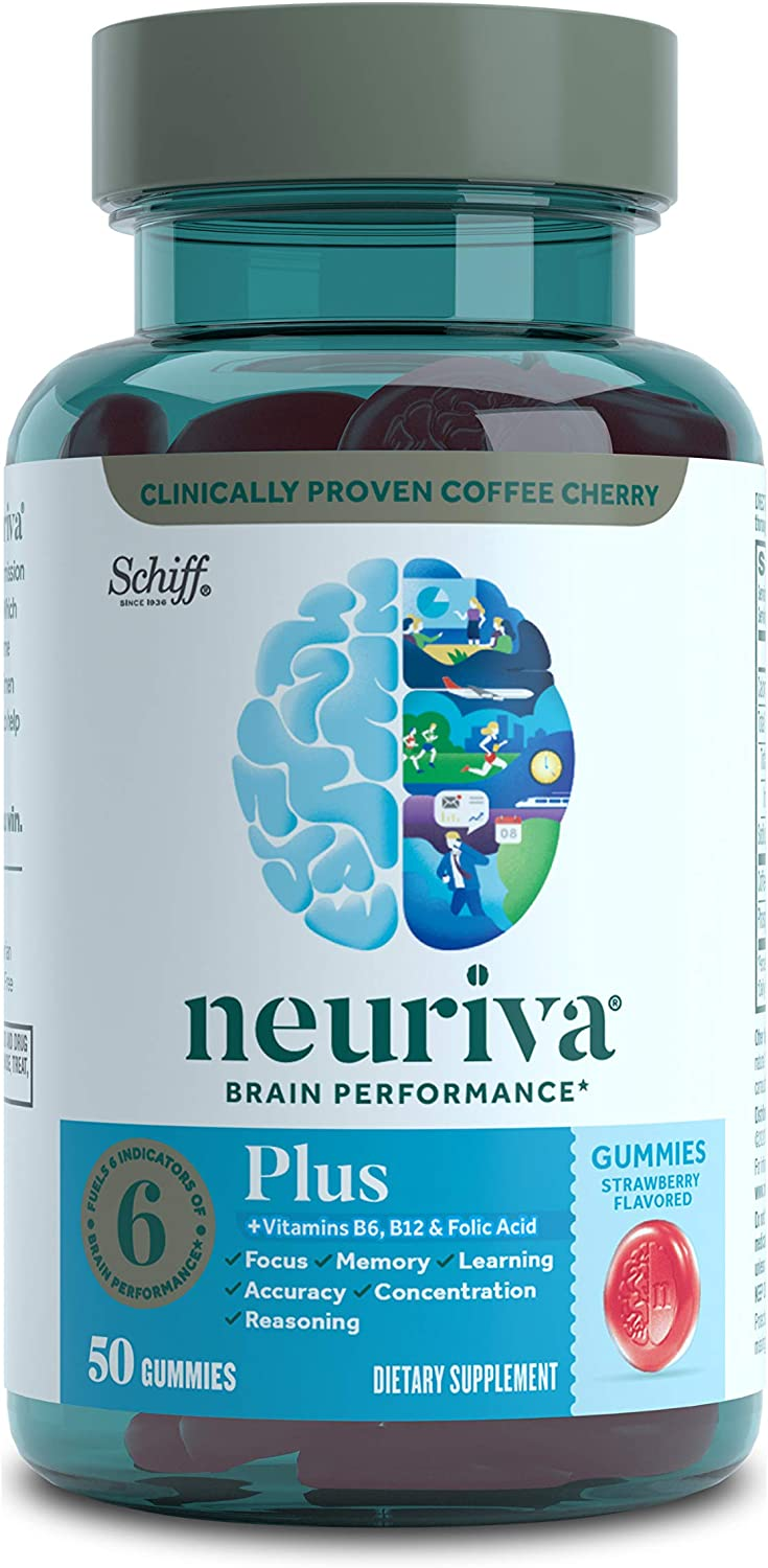 Nootropic Brain Support Supplement - NEURIVA Plus Strawberry Gummies (50 Count in a Bottle) Phosphatidylserine, B6, B12 - Supports Focus, Memory, Learning, Accuracy, Concentration & Reasoning