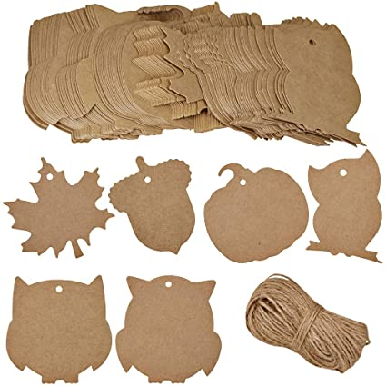 150 Pieces 15 Styles Tags Labels Brown Kraft Paper Gift Tags Card Xmas Present Tags Christmas Tags Hang Labels With String For Gift Wrapping Merry Christmas Bags