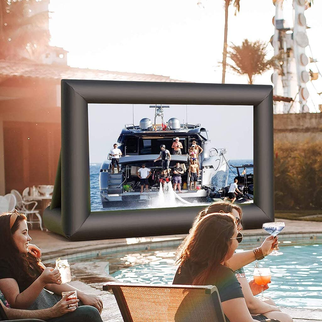 JNYB Inflatable Movie Screen 16ft Inflatable Outdoor Projection Screen Canvas Projection Screen Includes Inflation fan for Movie Parties Pool Lawn Event