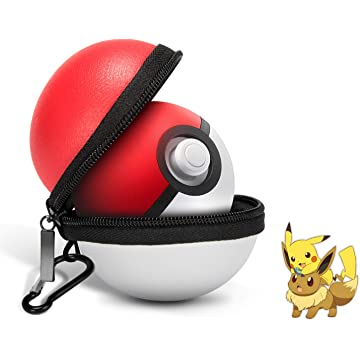 Carrying Case for Nintendo Switch Poke Ball Plus Controller, Pokeball Plus Case for Pokemon Lets Go Pikachu/Eevee Game (White and Red)